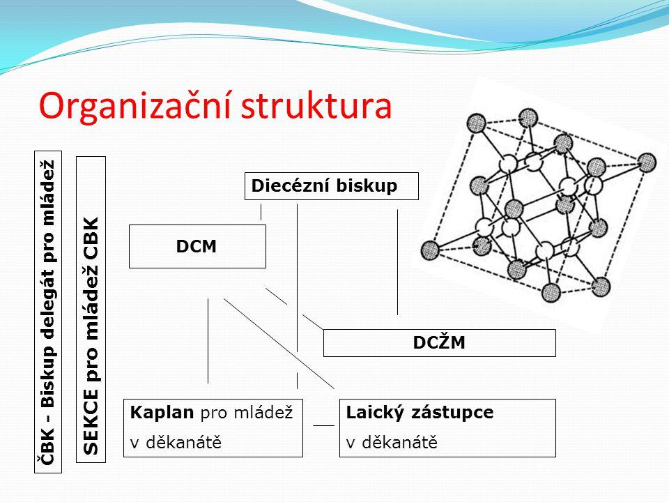 Organizační struktura SEKCE pro mládež CBK Diecézní biskup DCM ČBK - Biskup delegát pro mládež DCŽM Kaplan pro mládež v děkanátě Laický zástupce v děk
