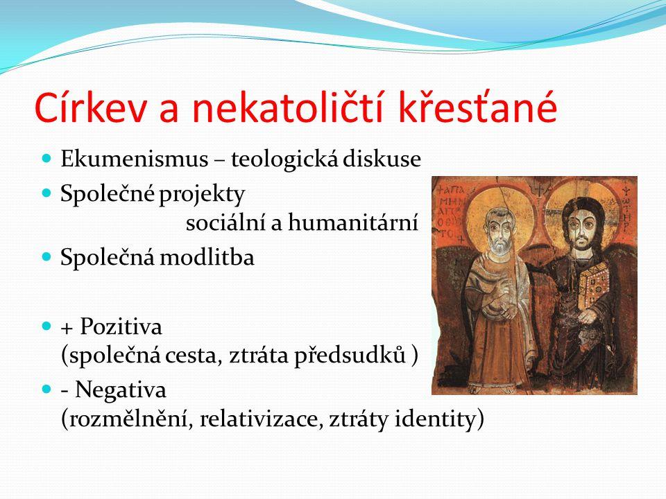 Církev a nekatoličtí křesťané Ekumenismus – teologická diskuse Společné projekty sociální a humanitární Společná modlitba + Pozitiva (společná cesta,