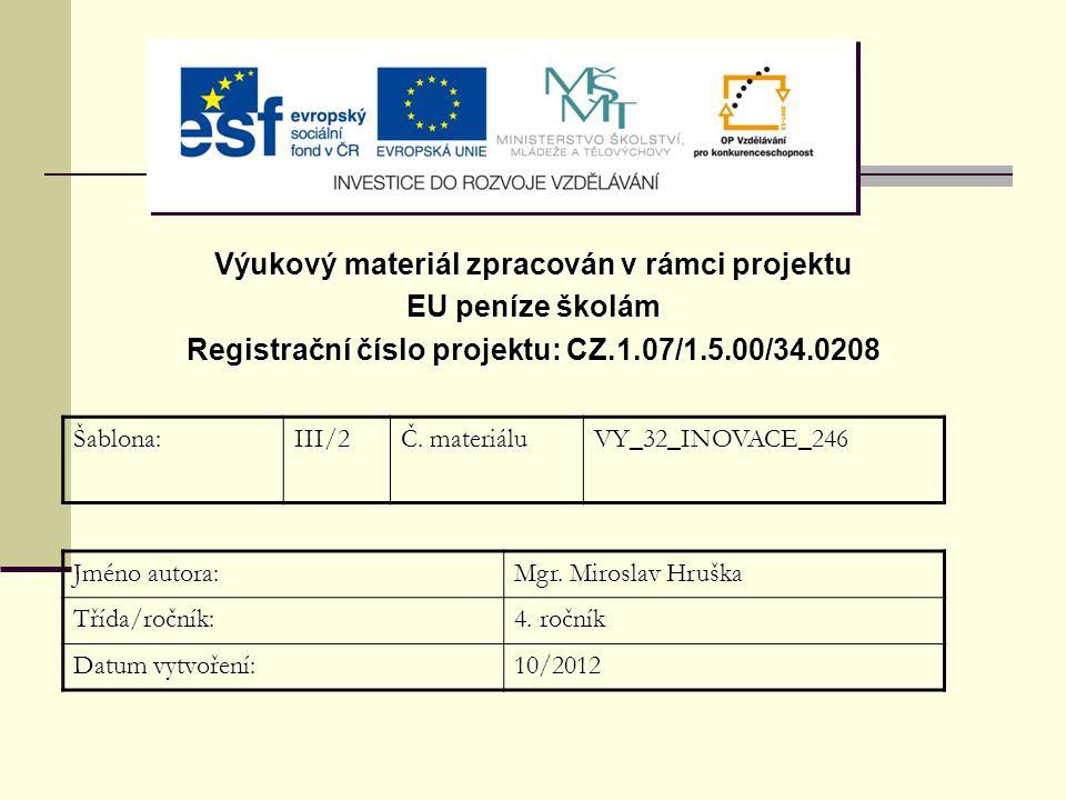 Výukový materiál zpracován v rámci projektu EU peníze školám Registrační číslo projektu: CZ.1.07/1.5.00/34.0208 Šablona:III/2 Č. materiálu VY_32_INOVA