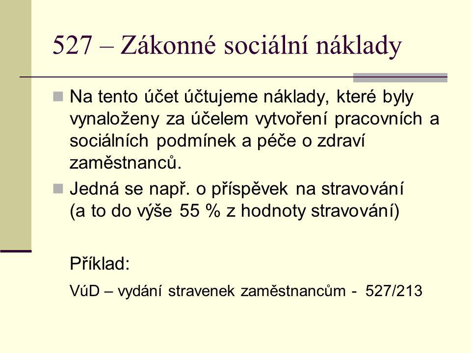 527 – Zákonné sociální náklady Na tento účet účtujeme náklady, které byly vynaloženy za účelem vytvoření pracovních a sociálních podmínek a péče o zdr