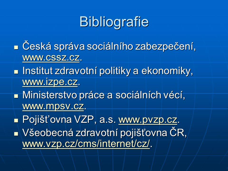 Bibliografie Česká správa sociálního zabezpečení, www.cssz.cz.