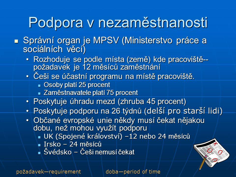 Podpora v nezaměstnanosti Správní organ je MPSV (Ministerstvo práce a sociálních věcí) Správní organ je MPSV (Ministerstvo práce a sociálních věcí) Rozhoduje se podle místa (země) kde pracoviště-- požadavek je 12 měsíců zaměstnáníRozhoduje se podle místa (země) kde pracoviště-- požadavek je 12 měsíců zaměstnání Češi se účastní programu na místě pracoviště.Češi se účastní programu na místě pracoviště.