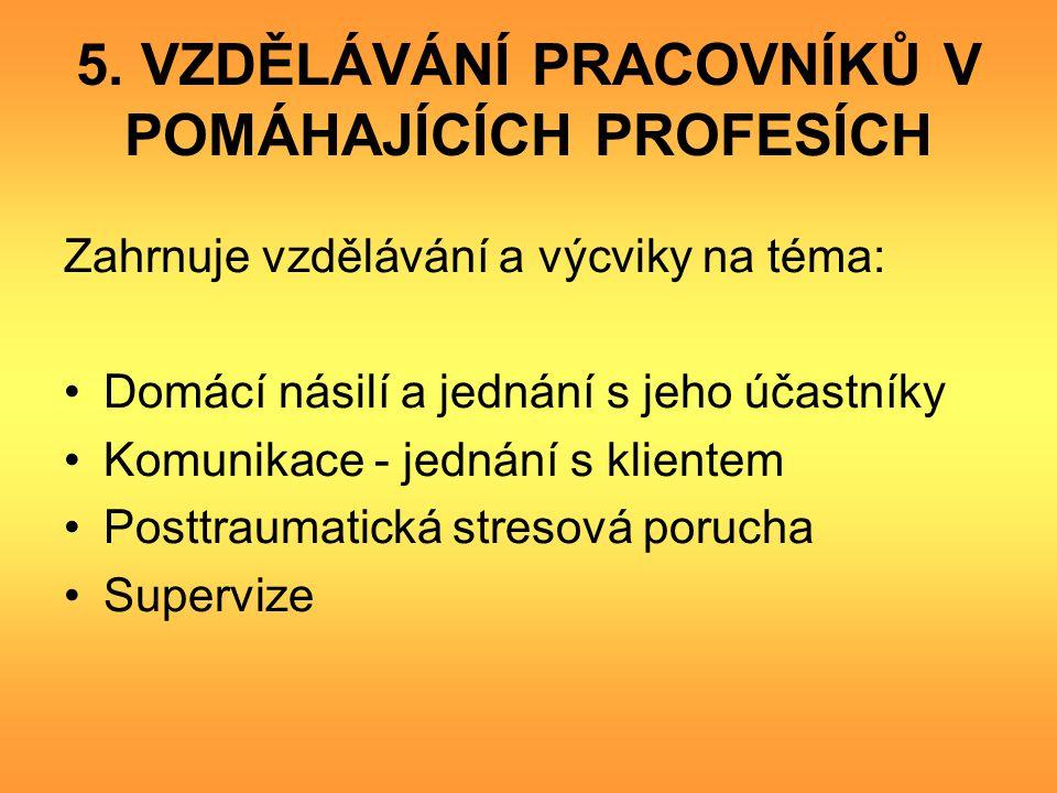 5. VZDĚLÁVÁNÍ PRACOVNÍKŮ V POMÁHAJÍCÍCH PROFESÍCH Zahrnuje vzdělávání a výcviky na téma: Domácí násilí a jednání s jeho účastníky Komunikace - jednání