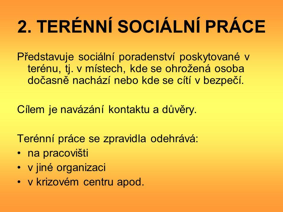 2.TERÉNNÍ SOCIÁLNÍ PRÁCE Představuje sociální poradenství poskytované v terénu, tj.