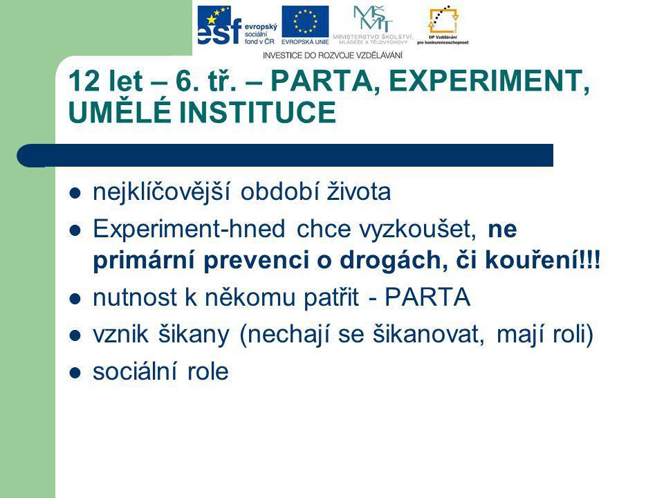 12 let – 6. tř. – PARTA, EXPERIMENT, UMĚLÉ INSTITUCE nejklíčovější období života Experiment-hned chce vyzkoušet, ne primární prevenci o drogách, či ko
