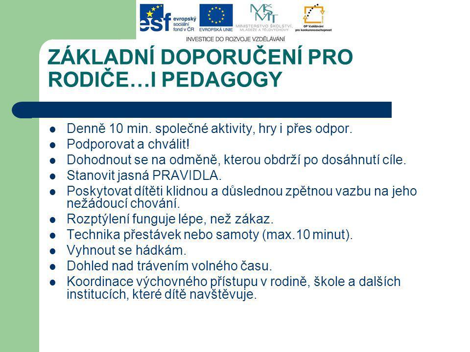 ZÁKLADNÍ DOPORUČENÍ PRO RODIČE…I PEDAGOGY Denně 10 min.