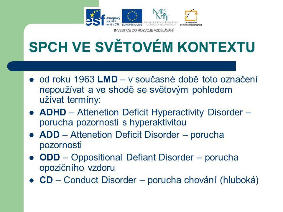 SPCH VE SVĚTOVÉM KONTEXTU od roku 1963 LMD – v současné době toto označení nepoužívat a ve shodě se světovým pohledem užívat termíny: ADHD – Attenetion Deficit Hyperactivity Disorder – porucha pozornosti s hyperaktivitou ADD – Attenetion Deficit Disorder – porucha pozornosti ODD – Oppositional Defiant Disorder – porucha opozičního vzdoru CD – Conduct Disorder – porucha chování (hluboká)
