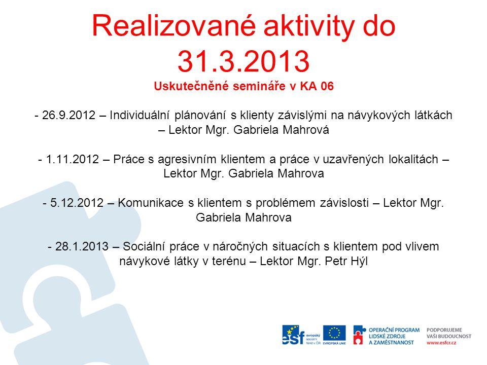 Realizované aktivity do 31.3.2013 Uskutečněné semináře v KA 06 - 26.9.2012 – Individuální plánování s klienty závislými na návykových látkách – Lektor Mgr.