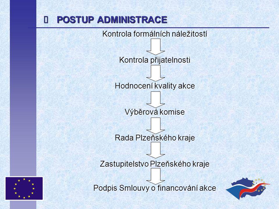  POSTUP ADMINISTRACE Kontrola formálních náležitostí Kontrola přijatelnosti Hodnocení kvality akce Výběrová komise Rada Plzeňského kraje Zastupitelstvo Plzeňského kraje Podpis Smlouvy o financování akce