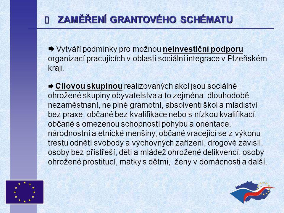  ZAMĚŘENÍ GRANTOVÉHO SCHÉMATU  Vytváří podmínky pro možnou neinvestiční podporu organizací pracujících v oblasti sociální integrace v Plzeňském kraj