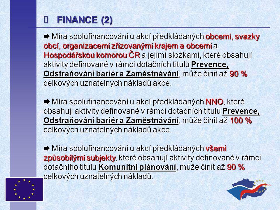  FINANCE (2)  Míra spolufinancování u akcí předkládaných obcemi, svazky obcí, organizacemi zřizovanými krajem a obcemi a Hospodářskou komorou ČR a j