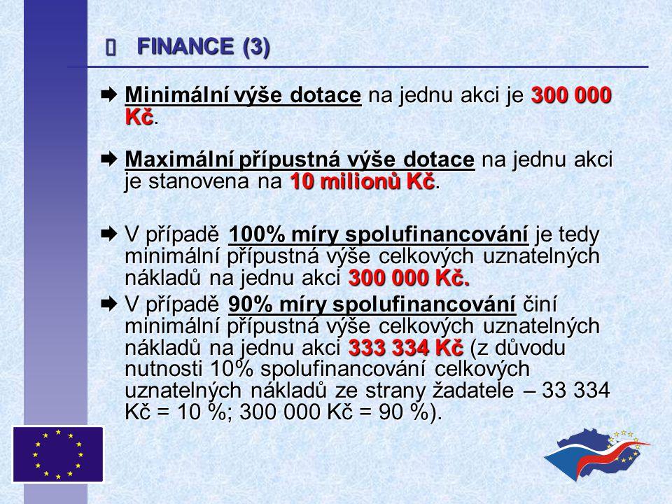  Minimální výše dotace na jednu akci je 300 000 Kč.  Maximální přípustná výše dotace na jednu akci je stanovena na 10 milionů Kč.  V případě 100% m