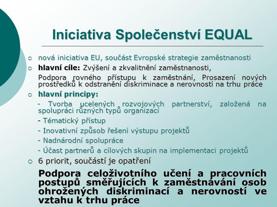 Iniciativa Společenství EQUAL  nová iniciativa EU, součást Evropské strategie zaměstnanosti  hlavní cíle: Zvýšení a zkvalitnění zaměstnanosti, Podpora rovného přístupu k zaměstnání, Prosazení nových prostředků k odstranění diskriminace a nerovností na trhu práce  hlavní principy: - Tvorba ucelených rozvojových partnerství, založená na spolupráci různých typů organizací - Tvorba ucelených rozvojových partnerství, založená na spolupráci různých typů organizací - Tématický přístup - Tématický přístup - Inovativní způsob řešení výstupu projektů - Inovativní způsob řešení výstupu projektů - Nadnárodní spolupráce - Nadnárodní spolupráce - Účast partnerů a cílových skupin na implementaci projektů - Účast partnerů a cílových skupin na implementaci projektů  6 priorit, součástí je opatření Podpora celoživotního učení a pracovních postupů směřujících k zaměstnávání osob ohrožených diskriminací a nerovností ve vztahu k trhu práce