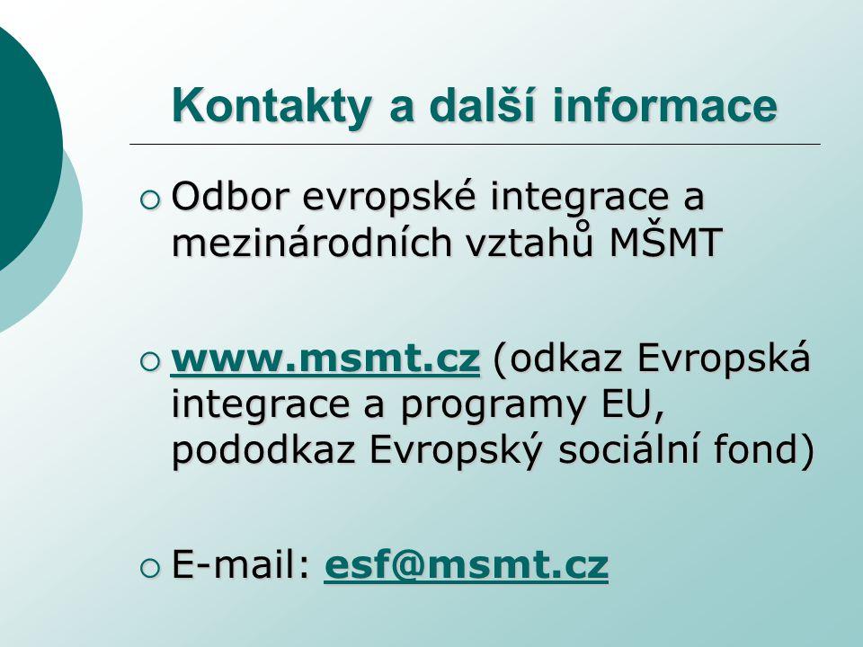 Kontakty a další informace  Odbor evropské integrace a mezinárodních vztahů MŠMT  www.msmt.cz (odkaz Evropská integrace a programy EU, pododkaz Evropský sociální fond) www.msmt.cz  E-mail: esf@msmt.cz esf@msmt.cz