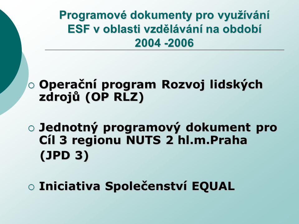 Programové dokumenty pro využívání ESF v oblasti vzdělávání na období 2004 -2006  Operační program Rozvoj lidských zdrojů (OP RLZ)  Jednotný programový dokument pro Cíl 3 regionu NUTS 2 hl.m.Praha (JPD 3) (JPD 3)  Iniciativa Společenství EQUAL