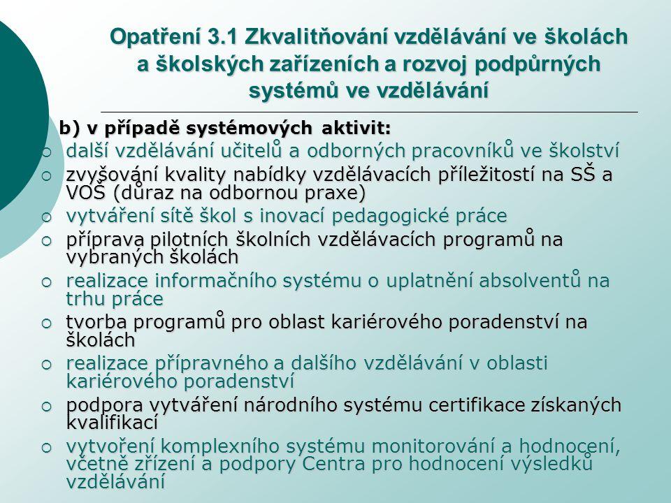 Opatření 3.1 Zkvalitňování vzdělávání ve školách a školských zařízeních a rozvoj podpůrných systémů ve vzdělávání b) v případě systémových aktivit:  další vzdělávání učitelů a odborných pracovníků ve školství  zvyšování kvality nabídky vzdělávacích příležitostí na SŠ a VOŠ (důraz na odbornou praxe)  vytváření sítě škol s inovací pedagogické práce  příprava pilotních školních vzdělávacích programů na vybraných školách  realizace informačního systému o uplatnění absolventů na trhu práce  tvorba programů pro oblast kariérového poradenství na školách  realizace přípravného a dalšího vzdělávání v oblasti kariérového poradenství  podpora vytváření národního systému certifikace získaných kvalifikací  vytvoření komplexního systému monitorování a hodnocení, včetně zřízení a podpory Centra pro hodnocení výsledků vzdělávání