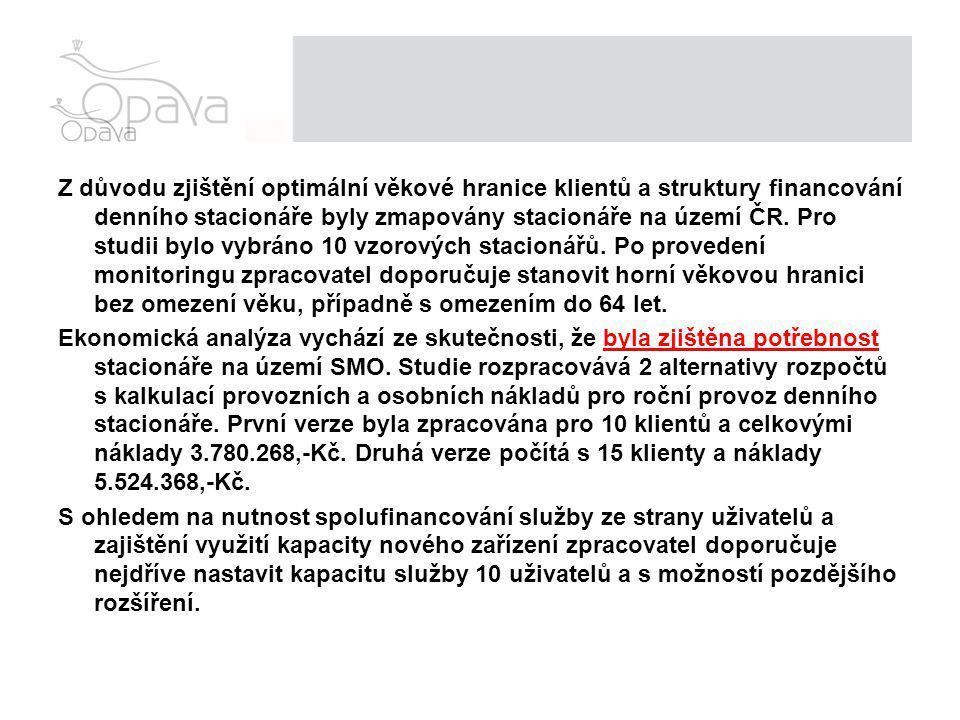 Z důvodu zjištění optimální věkové hranice klientů a struktury financování denního stacionáře byly zmapovány stacionáře na území ČR.