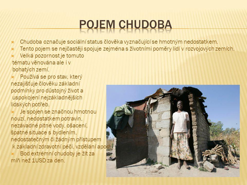  Chudoba označuje sociální status člověka vyznačující se hmotným nedostatkem.  Tento pojem se nejčastěji spojuje zejména s životními poměry lidí v r