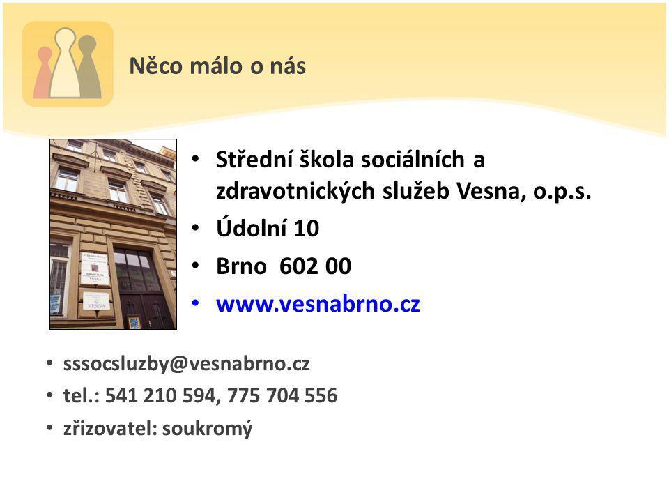 Něco málo o nás Střední škola sociálních a zdravotnických služeb Vesna, o.p.s. Údolní 10 Brno 602 00 www.vesnabrno.cz sssocsluzby@vesnabrno.cz tel.: 5
