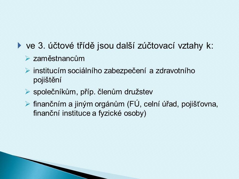  vyhrazena 33. účtová skupina  zúčtování se zaměstnanci: účet 331  zúčtování s institucemi: 336