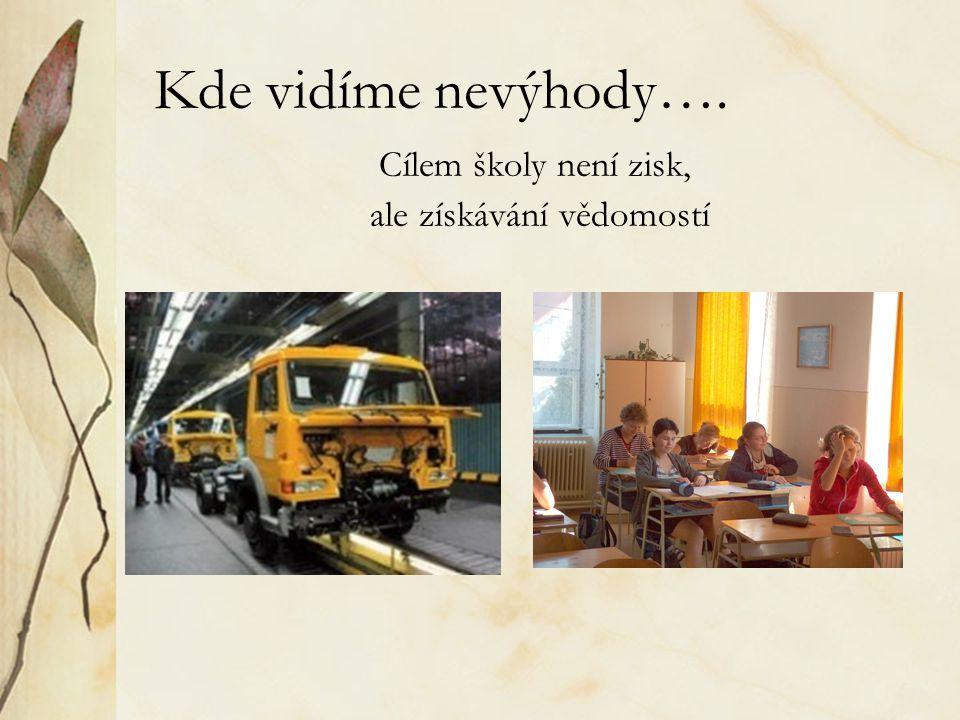 Kde vidíme nevýhody…. Cílem školy není zisk, ale získávání vědomostí