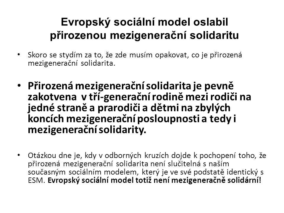 Evropský sociální model oslabil přirozenou mezigenerační solidaritu Skoro se stydím za to, že zde musím opakovat, co je přirozená mezigenerační solidarita.