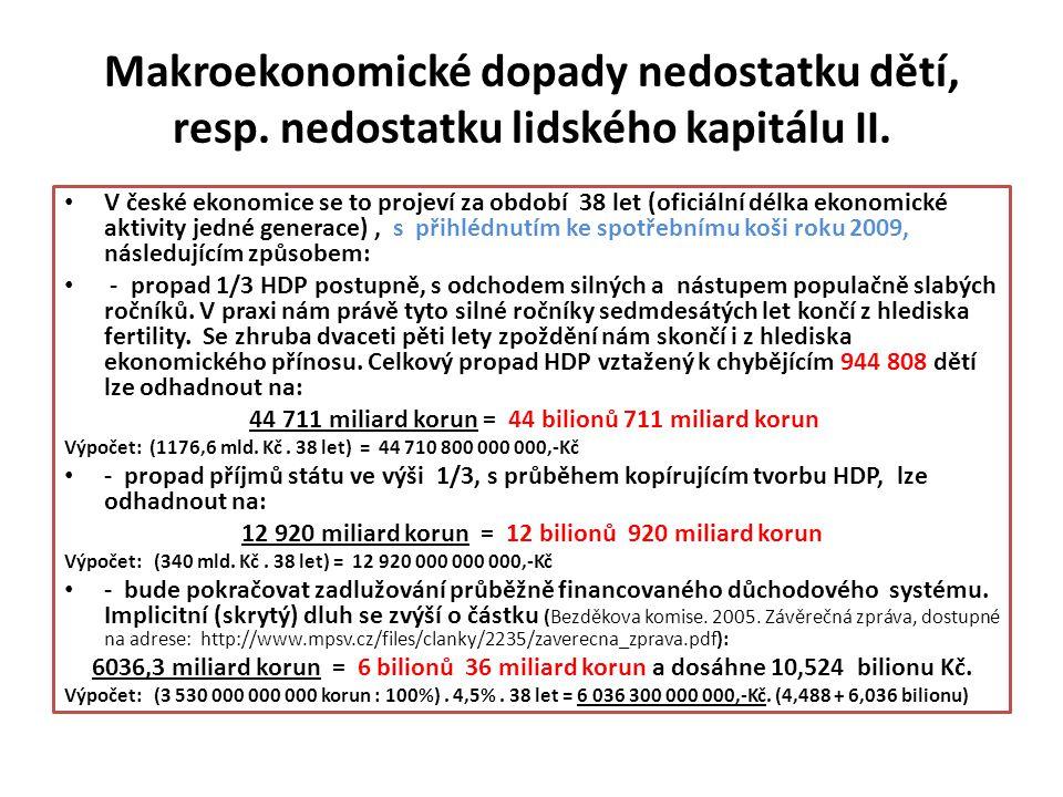 Makroekonomické dopady nedostatku dětí, resp. nedostatku lidského kapitálu II. V české ekonomice se to projeví za období 38 let (oficiální délka ekono