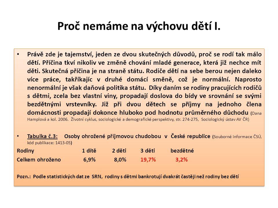 Rodiny s dětmi a bezdětní jsou na tom v Česku a v Německu stejně Tabulka č.6: Relativní ekonomická situace rodin v roce 2004, Česká republika (bezdětní = 100%): Počet dětí v rodině 2 děti 3 děti 4 děti Relativní příjem na člena domácnosti 53,3 % 44 % 39,4 % Tabulka č.7: Relativní ekonomická situace rodin v roce 2000, spolková země Bádensko-Würtembersko (Jürgen BORCHERT, ODPOVĚDNOST MÍSTO ALMUŽNY, Bulletin OI č.