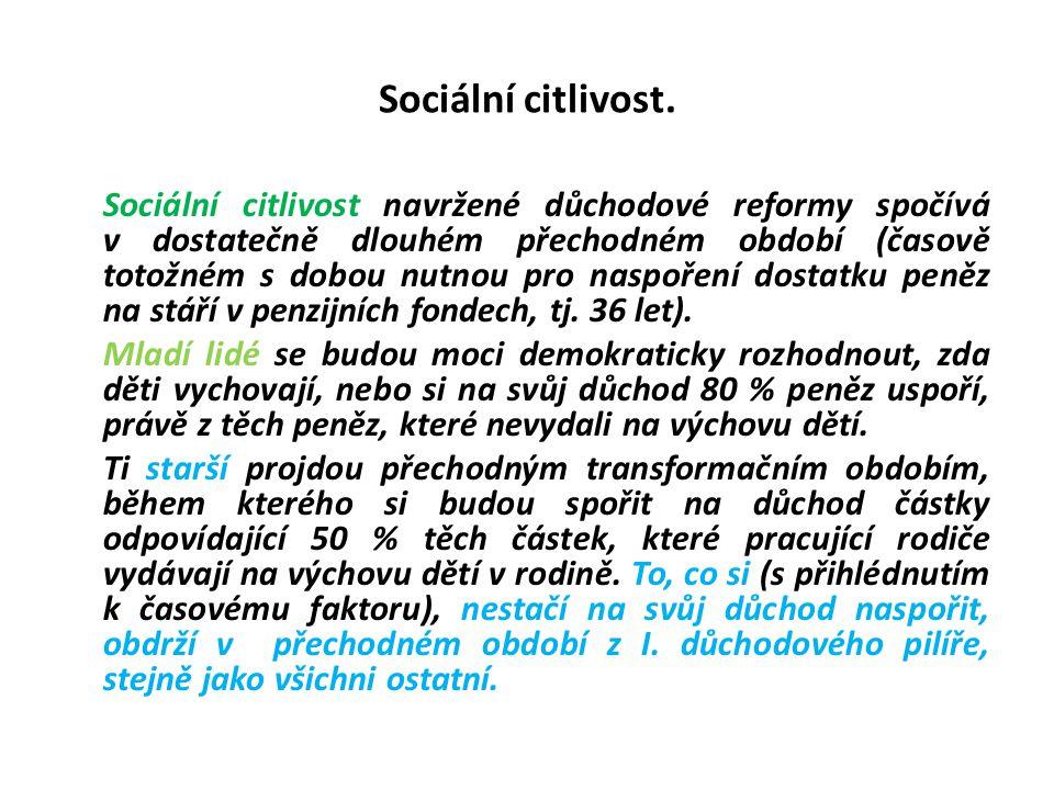 Sociální citlivost. Sociální citlivost navržené důchodové reformy spočívá v dostatečně dlouhém přechodném období (časově totožném s dobou nutnou pro n