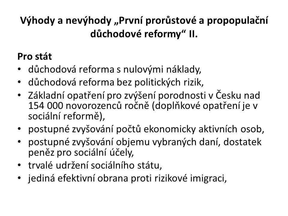 """Výhody a nevýhody """"První prorůstové a propopulační důchodové reformy"""" II. Pro stát důchodová reforma s nulovými náklady, důchodová reforma bez politic"""