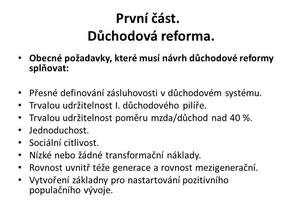 První část. Důchodová reforma. Obecné požadavky, které musí návrh důchodové reformy splňovat: Přesné definování zásluhovosti v důchodovém systému. Trv