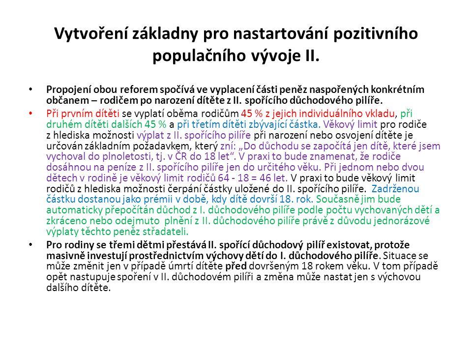 Vytvoření základny pro nastartování pozitivního populačního vývoje II. Propojení obou reforem spočívá ve vyplacení části peněz naspořených konkrétním