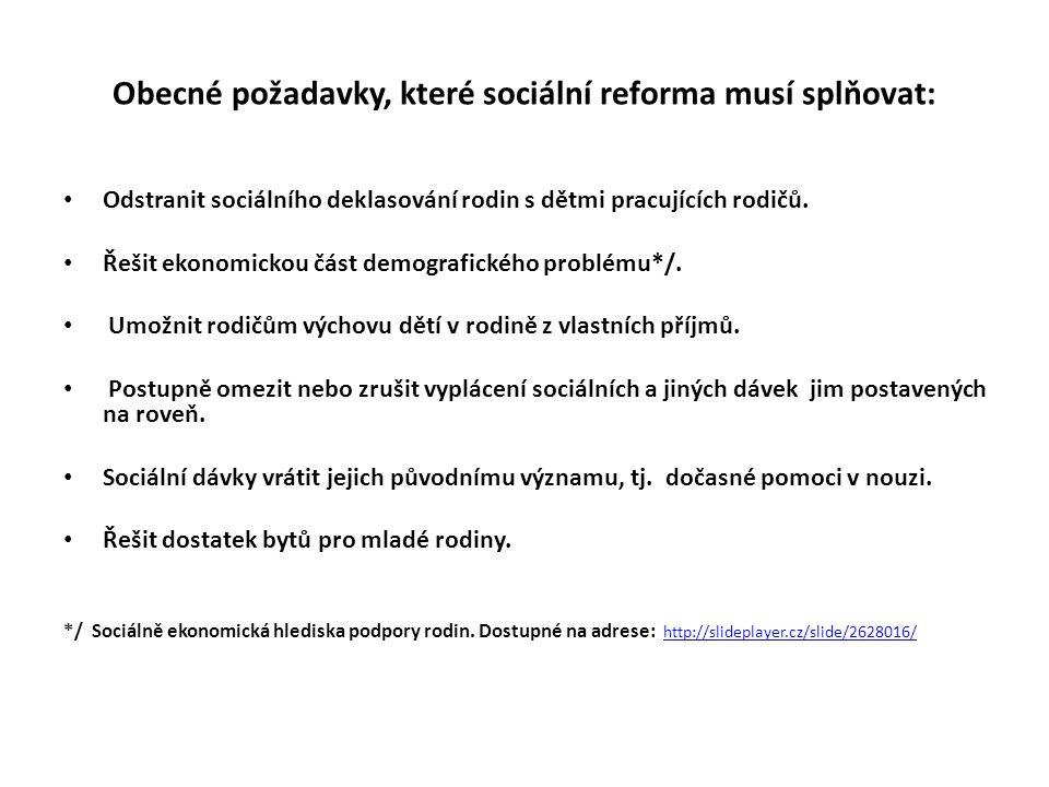 Obecné požadavky, které sociální reforma musí splňovat: Odstranit sociálního deklasování rodin s dětmi pracujících rodičů. Řešit ekonomickou část demo