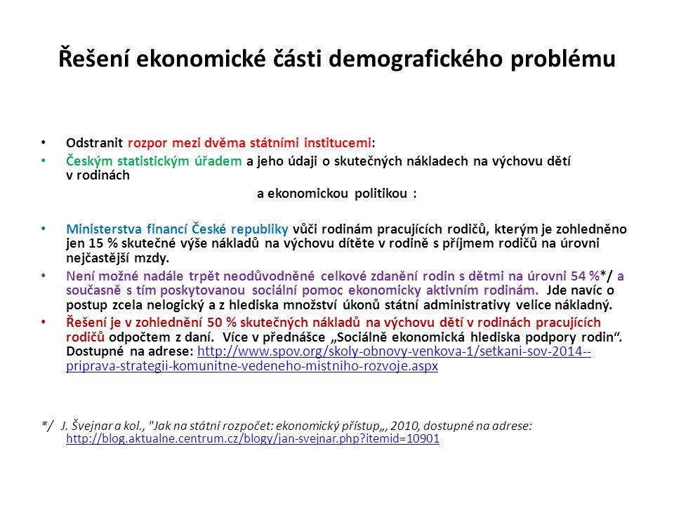 Řešení ekonomické části demografického problému Odstranit rozpor mezi dvěma státními institucemi: Českým statistickým úřadem a jeho údaji o skutečných