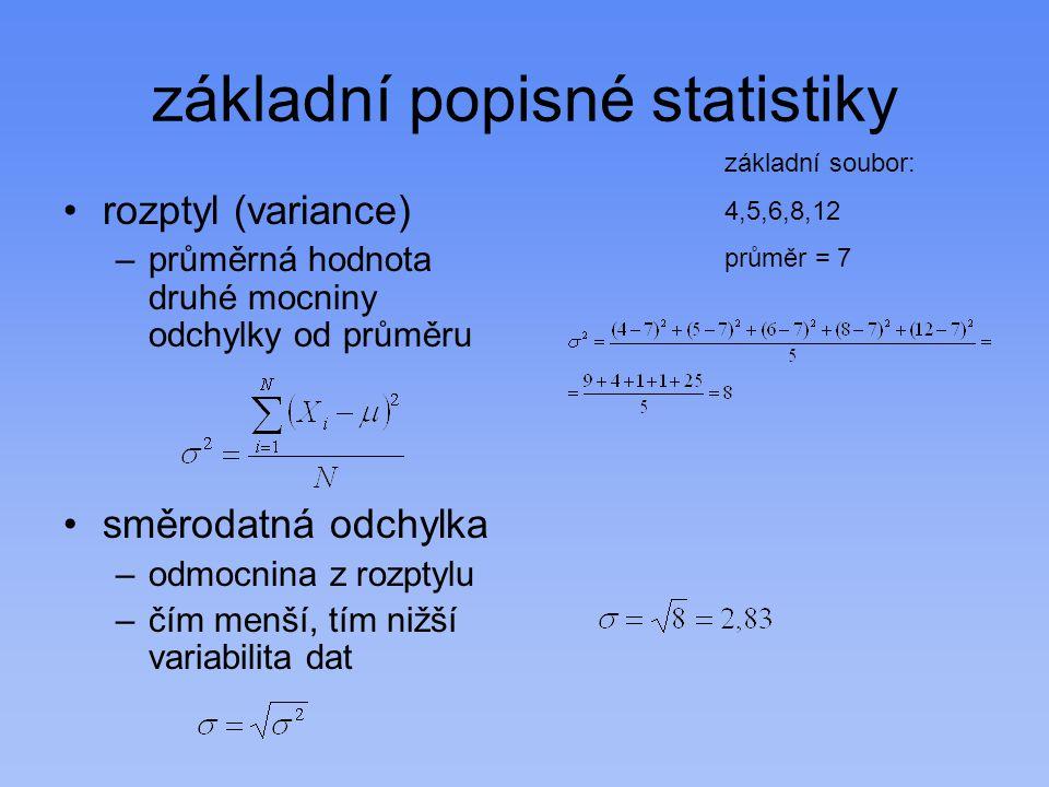 základní popisné statistiky rozptyl (variance) –průměrná hodnota druhé mocniny odchylky od průměru směrodatná odchylka –odmocnina z rozptylu –čím menší, tím nižší variabilita dat základní soubor: 4,5,6,8,12 průměr = 7
