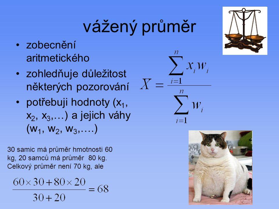 vážený průměr zobecnění aritmetického zohledňuje důležitost některých pozorování potřebuji hodnoty (x 1, x 2, x 3,…) a jejich váhy (w 1, w 2, w 3,….)