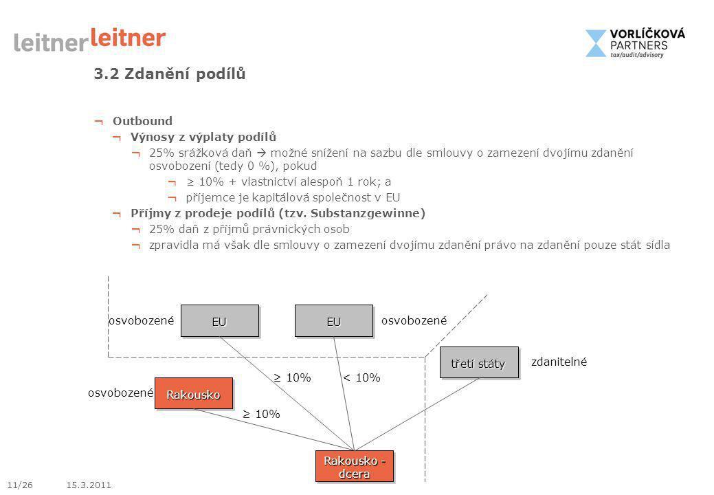 11/26 15.3.2011 3.2 Zdanění podílů ¬ Outbound ¬ Výnosy z výplaty podílů ¬ 25% srážková daň  možné snížení na sazbu dle smlouvy o zamezení dvojímu zda