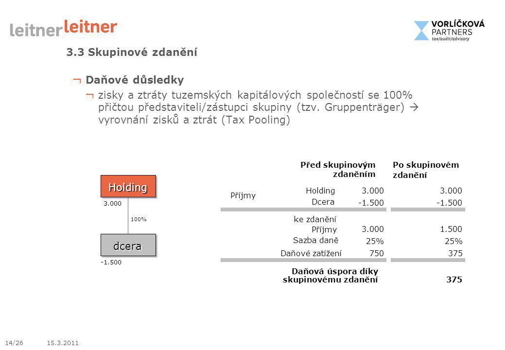 14/26 15.3.2011 ¬ Daňové důsledky ¬ zisky a ztráty tuzemských kapitálových společností se 100% přičtou představiteli/zástupci skupiny (tzv. Gruppenträ