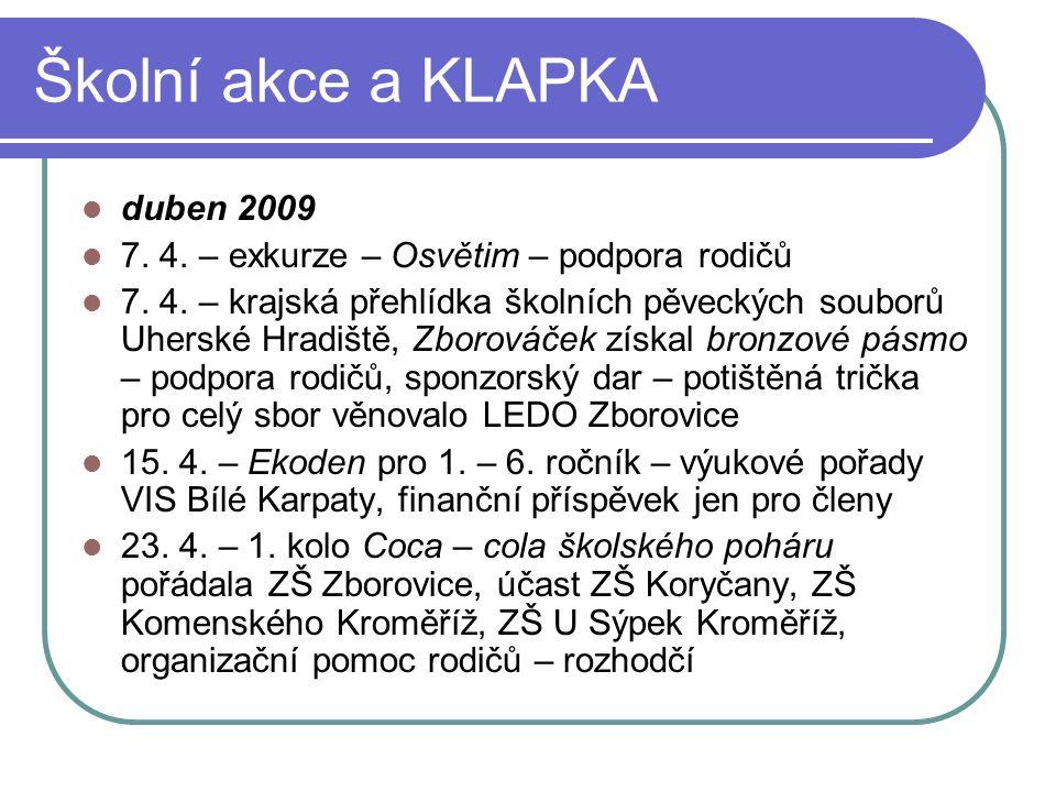 Školní akce a KLAPKA duben 2009 7. 4. – exkurze – Osvětim – podpora rodičů 7. 4. – krajská přehlídka školních pěveckých souborů Uherské Hradiště, Zbor