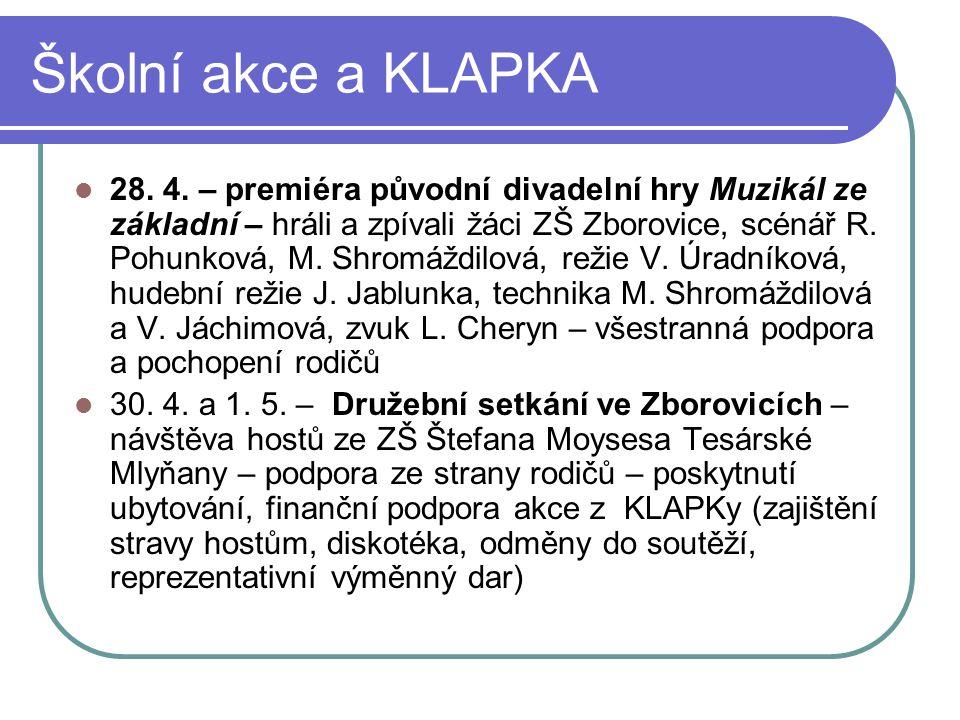 Školní akce a KLAPKA 28. 4. – premiéra původní divadelní hry Muzikál ze základní – hráli a zpívali žáci ZŠ Zborovice, scénář R. Pohunková, M. Shromážd