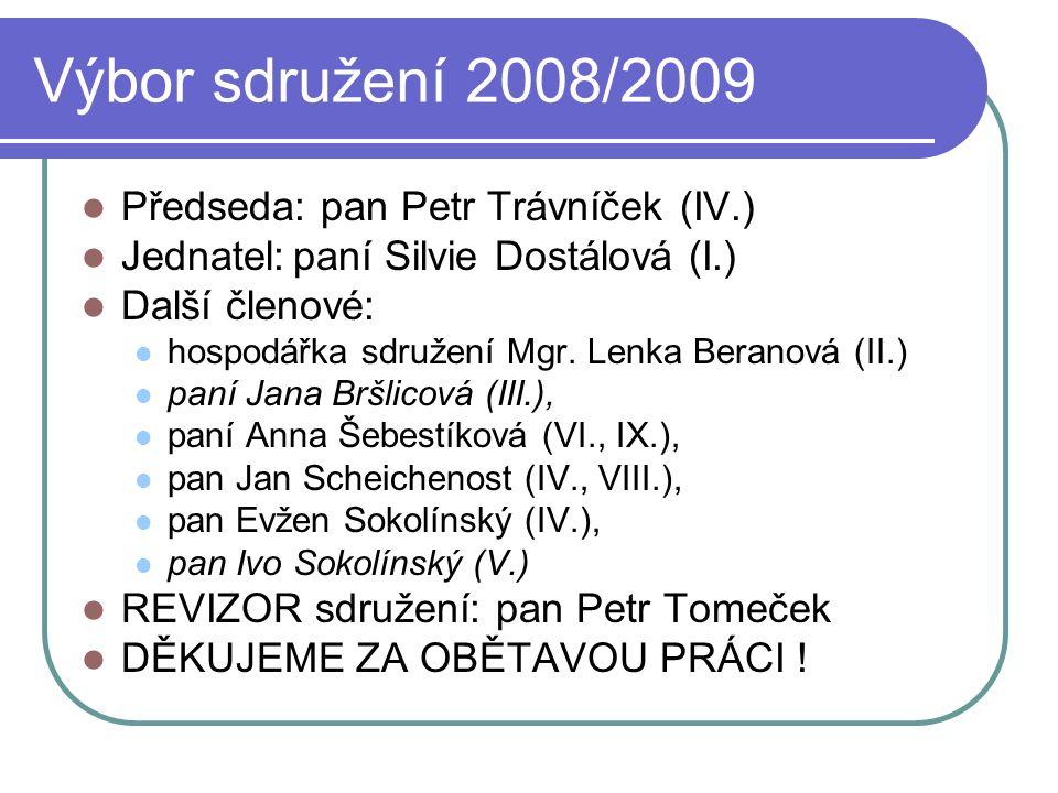 Výbor sdružení 2008/2009 Předseda: pan Petr Trávníček (IV.) Jednatel:paní Silvie Dostálová (I.) Další členové: hospodářka sdružení Mgr. Lenka Beranová