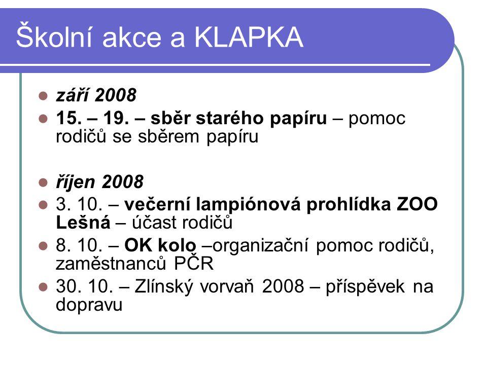 Školní akce a KLAPKA září 2008 15. – 19. – sběr starého papíru – pomoc rodičů se sběrem papíru říjen 2008 3. 10. – večerní lampiónová prohlídka ZOO Le