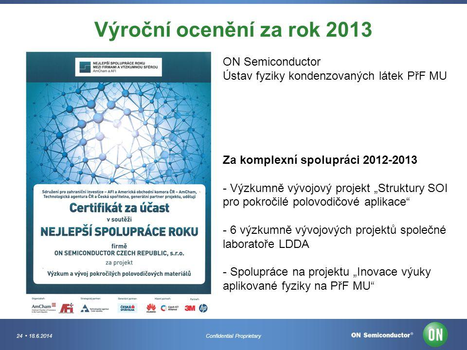 24 18.6.2014Confidential Proprietary Výroční ocenění za rok 2013 ON Semiconductor Ústav fyziky kondenzovaných látek PřF MU Za komplexní spolupráci 201