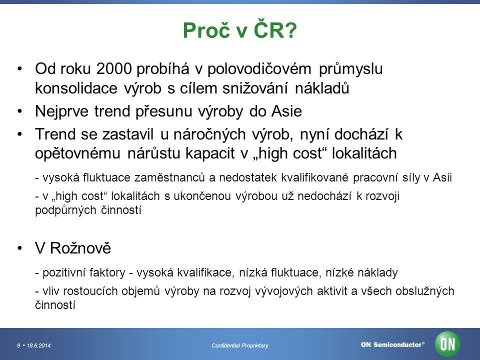 9 18.6.2014Confidential Proprietary Proč v ČR? Od roku 2000 probíhá v polovodičovém průmyslu konsolidace výrob s cílem snižování nákladů Nejprve trend