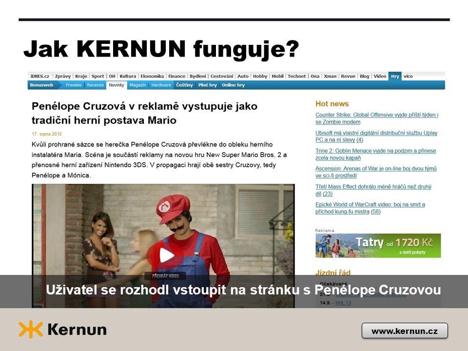 Jak KERNUN funguje? Uživatel se rozhodl vstoupit na stránku s Penélope Cruzovou www.kernun.cz