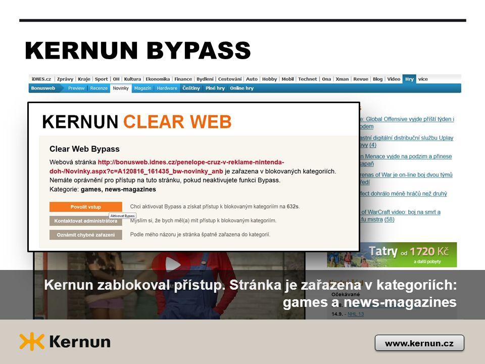 KERNUN BYPASS Kernun zablokoval přístup.