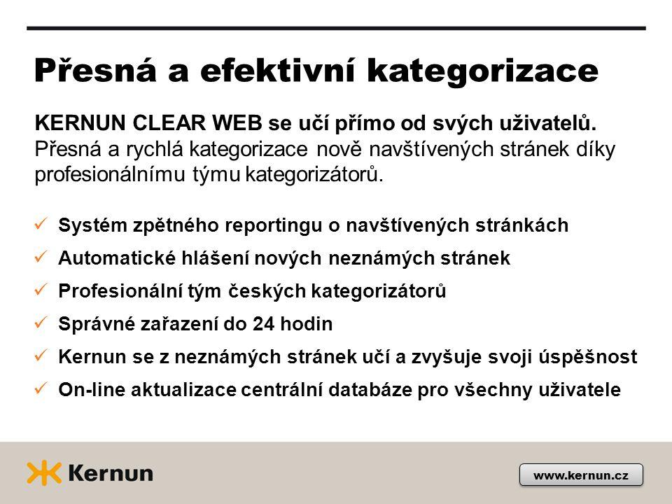 Přesná a efektivní kategorizace www.kernun.cz KERNUN CLEAR WEB se učí přímo od svých uživatelů.