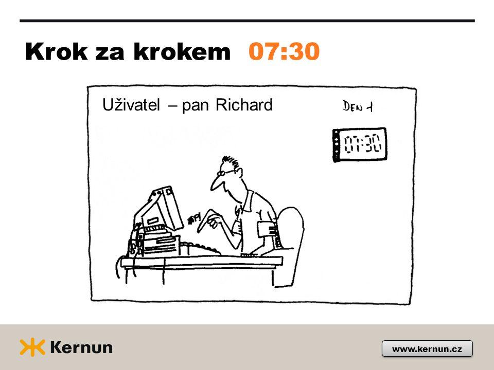 Krok za krokem www.kernun.cz 07:30 Uživatel – pan Richard