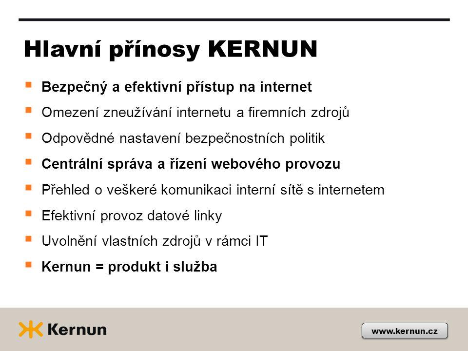 Hlavní přínosy KERNUN  Bezpečný a efektivní přístup na internet  Omezení zneužívání internetu a firemních zdrojů  Odpovědné nastavení bezpečnostních politik  Centrální správa a řízení webového provozu  Přehled o veškeré komunikaci interní sítě s internetem  Efektivní provoz datové linky  Uvolnění vlastních zdrojů v rámci IT  Kernun = produkt i služba www.kernun.cz