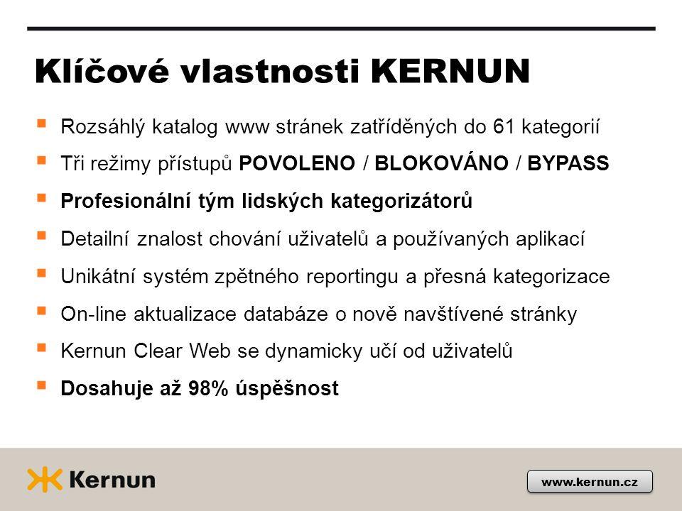 2013 KERNUN zvýšil úspěšnost www.kernun.cz Díky on-line aktualizaci databáze o nově navštěvované stránky je dnes vysoká garance úspěšnosti až 98 %.